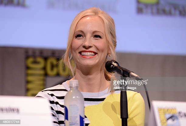 Actress Candice Accola speaks onstage at the The Vampire Diaries panel during ComicCon International 2015 at the San Diego Convention Center on July...
