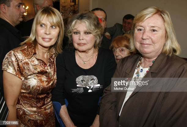 Actress Candice Patou Brigitte Bardo and Maryvonne Pinault attend The Brigitte Bardot Foundation's anniversary party at the Marigny Theater near the...
