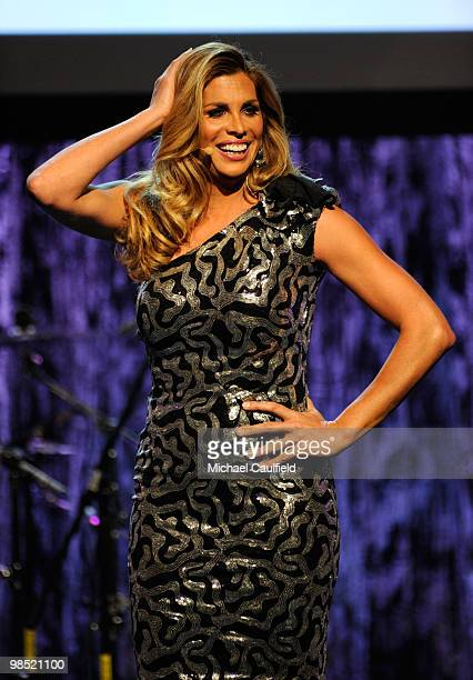 Actress Candis Cayne onstage at the 21st Annual GLAAD Media Awards held at Hyatt Regency Century Plaza Hotel on April 17, 2010 in Los Angeles,...