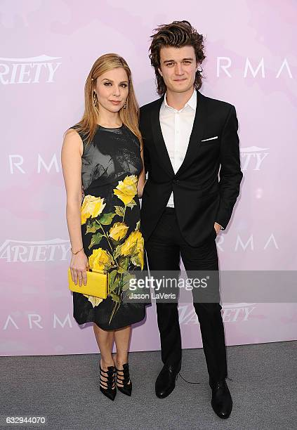 Actress Cara Buono and actor Joe Keery attend Variety's celebratory brunch event for awards nominees benefitting Motion Picture Television Fund at...