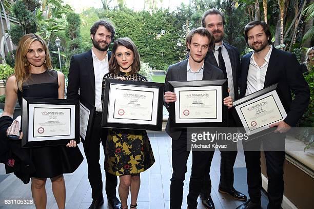 Actress Cara Buono writer/director Ross Duffer actors Natalia Dyer Charlie Heaton David Harbour and writer/director Matt Duffer attend the 17th...
