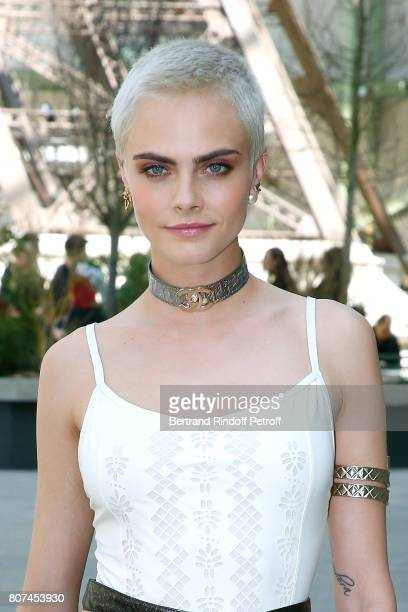 Actress Cara Delevingne attends the Chanel Haute Couture Fall/Winter 20172018 show as part of Haute Couture Paris Fashion Week on July 4 2017 in...