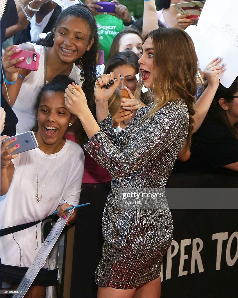 Actress Cara Delevingne attends the New York City premiere of 'Paper Towns' at AMC Loews Lincoln Square on July 21, 2015 in New York City.