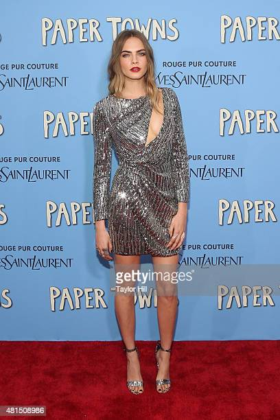 """Actress Cara Delevingne attends the New York City premiere of """"Paper Towns"""" at AMC Loews Lincoln Square on July 21, 2015 in New York City."""