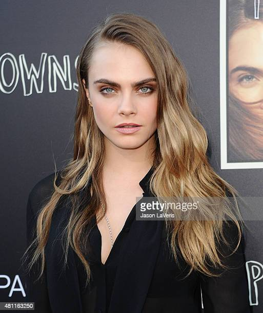 Actress Cara Delevingne attends the Paper Towns QA and live concert at YouTube Space LA on July 17 2015 in Los Angeles California
