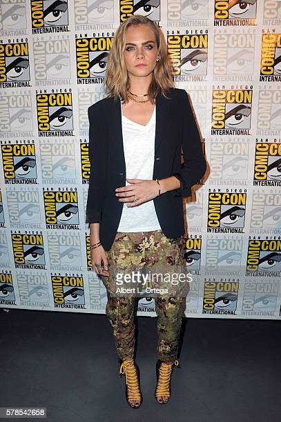 Actress Cara Delevingne attends the 'Valerian And The City Of A Thousand Planets' panel during ComicCon International 2016 at San Diego Convention...