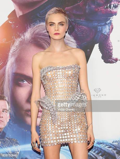 Actress Cara Delevingne attends the 'Valerian And The City Of A Thousand Planets' Mexico City premiere at Parque Toreo on August 2 2017 in Mexico...