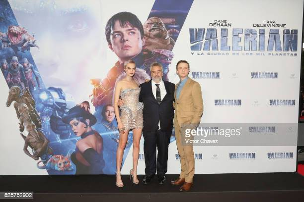 Actress Cara Delevingne film director Luc Besson and actor Dane DeHaan attend the 'Valerian And The City Of A Thousand Planets' Mexico City premiere...