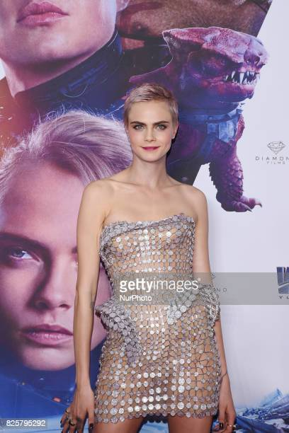 Actress Cara Delevingne is seen poses during the red carpet of Valerian and the City of a Thousand Planets Mexico City film Premiere at Toreo Parque...
