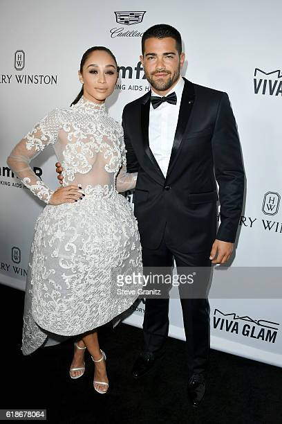 Actress Cara Santana and actor Jesse Metcalfe attend amfAR's Inspiration Gala Los Angeles at Milk Studios on October 27 2016 in Hollywood California
