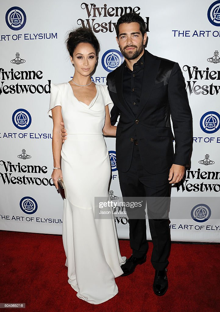 Actress Cara Santana and actor Jesse Metcalfe attend Art of Elysium's 9th annual Heaven Gala at 3LABS on January 9, 2016 in Culver City, California.