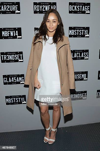 Actress Cara Santana attends the MercedesBenz Star Lounge during MercedesBenz Fashion Week Fall 2014 at Lincoln Center on February 8 2014 in New York...