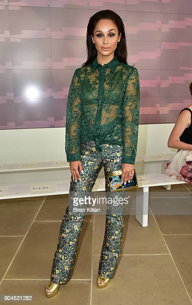 Actress Cara Santana attends the Monique Lhuillier Front Row Backstage September 2016 New York Fashion Week Show at the IAC Building on September 13...