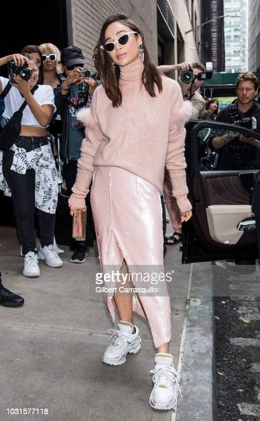 Actress Cara Santana is seen arriving to Sally LaPointe SS19 fashion show during New York Fashion Week at Gallery I at Spring Studios on September 11...