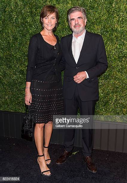 Actress Carey Lowell and Executive Tom Freston attend the 11th Annual Chanel Tribeca Film Festival Artists Dinner at Balthazar on April 18 2016 in...