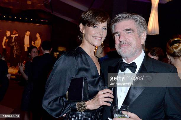 Actress Carey Lowell and Tom Freston attend the 2016 Vanity Fair Oscar Party Hosted By Graydon Carter at the Wallis Annenberg Center for the...