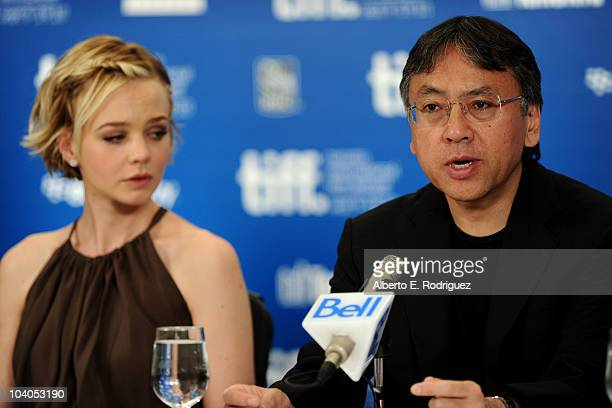 Actress Carey Mulligan and author Kazuo Ishiguro speak at 'Never Let Me Go' press conference during the 2010 Toronto International Film Festival at...