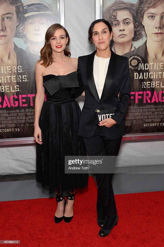 Actress Carey Mulligan (L) and director Sarah Gavron attend the 'Suffragette' New York premiere at Paris Theatre on October 12, 2015 in New York City.