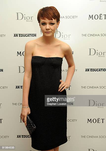 Actress Carey Mulligan attends a screening of An Education hosted by The Cinema Society and Dior Beauty at the Crosby Street Hotel on October 7 2009...