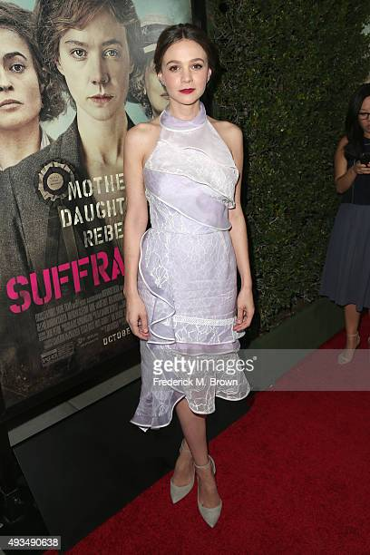 Actress Carey Mulligan attends the premiere of Focus Features' Suffragette at Samuel Goldwyn Theater on October 20 2015 in Beverly Hills California