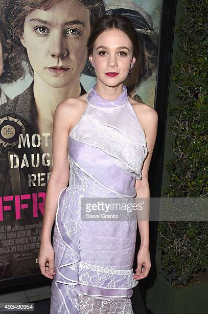 Actress Carey Mulligan attends the premiere of Focus Features' 'Suffragette' at Samuel Goldwyn Theater on October 20 2015 in Beverly Hills California