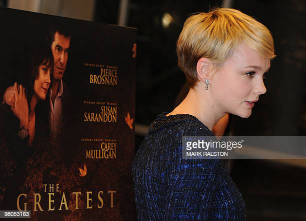 """Actress Carey Mulligan poses on the red carpet as she arrives for the premiere of """"The Greatest"""" at the Linwood Dunn theater in Hollywood on March..."""