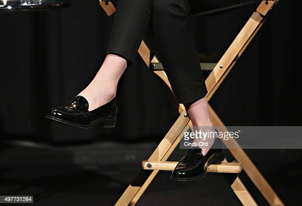 Actress Carey Mulligan shoe detail speaks during The SAGAFTRA Foundation's Conversations Series Presents Carey Mulligan at NYIT Auditorium on...