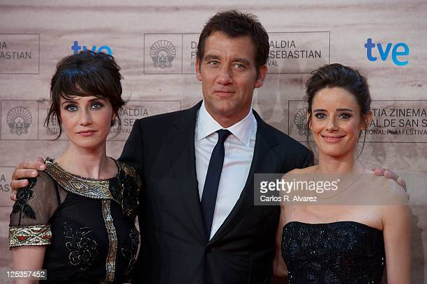 Actress Carice Van Houten actor Clive Owen and Spanish actress Pilar Lopez de Ayala attend 'Intruders' premiere at the Kursaal Palace during the 59th...