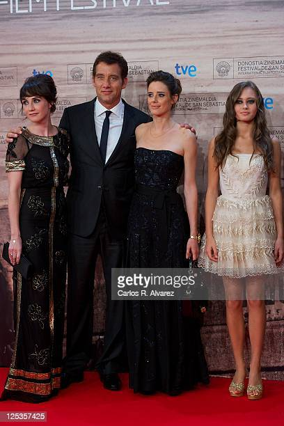 Actress Carice Van Houten actor Clive Owen Spanish actress Pilar Lopez de Ayala and actress Ella Purnell attend 'Intruders' premiere at the Kursaal...