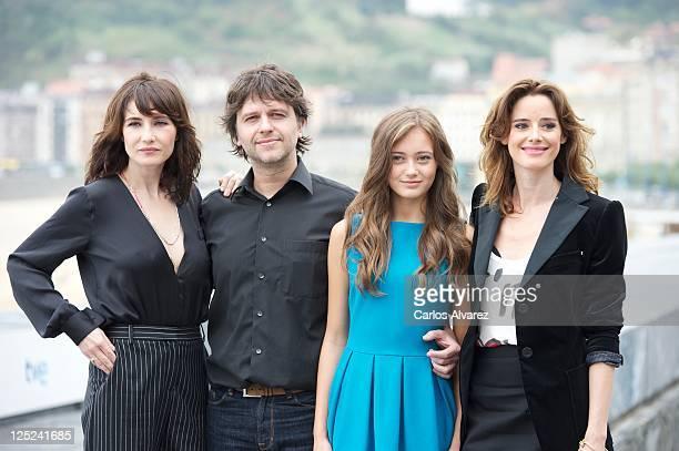 Actress Carice Van Houten director Juan Carlos Fresnadillo actress Ella Purnell and Spanish actress Pilar Lopez de Ayala attend 'Intruders' photocall...