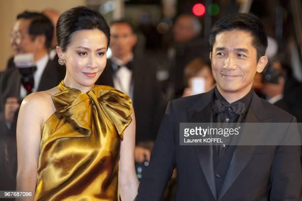Actress Carina Lau and actor Tony Leung attend the Premiere of 'Tian Zhu Ding' during The 66th Annual Cannes Film Festival at Palais des Festivals on...