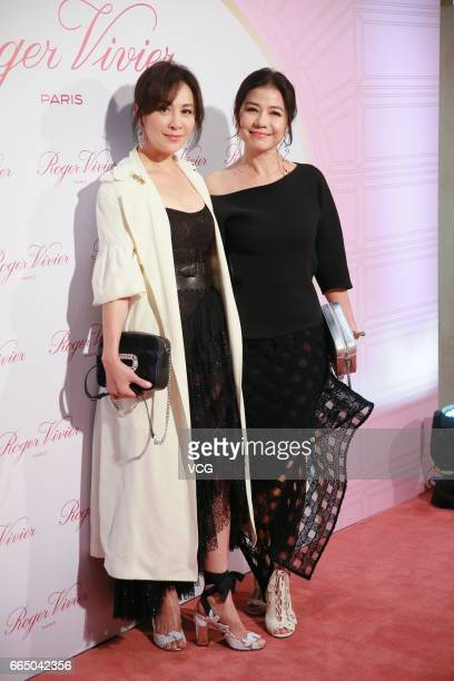 Actress Carina Lau and actress Cherie Chung attend Roger Vivier activity on April 5 2017 in Hong Kong China