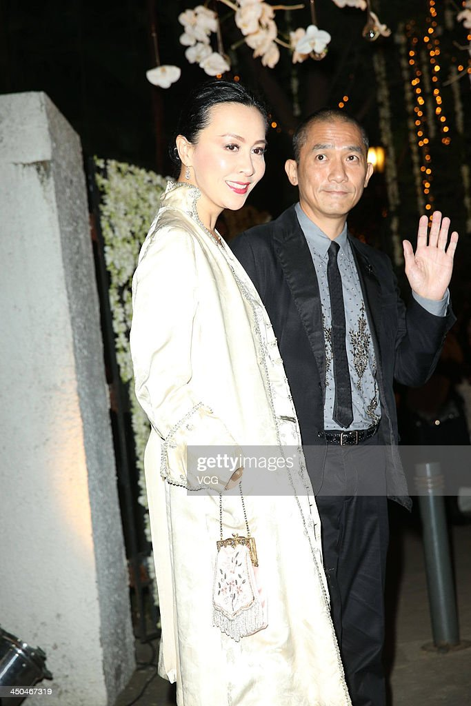 Actress Carina Lau and her husband Tony Leung Chiu-Wai attend Chang Chen's wedding ceremony on November 18, 2013 in Taipei, Taiwan.