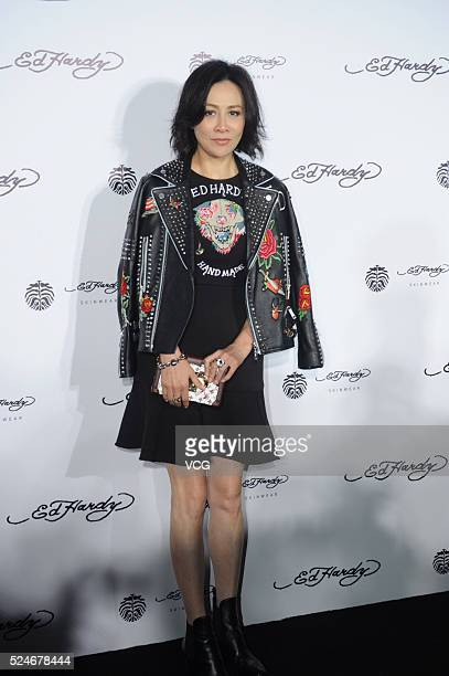 Actress Carina Lau attends Ed Hardy Skinwear show on April 26 2016 in Shanghai China