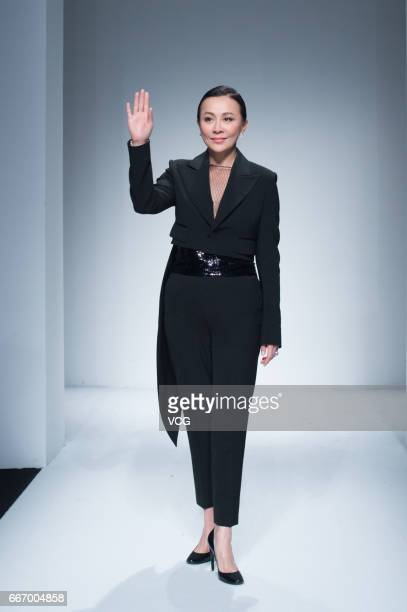 Actress Carina Lau attends her ANIRAC collection during the Shanghai Fashion Week Autumn/Winter 2017 at Xintiandi on April 10 2017 in Shanghai China