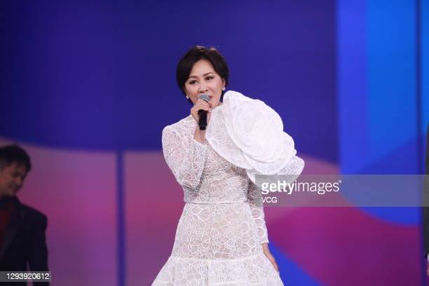 Actress Carina Lau performs on the stage during Dragon Television new year gala on December 31, 2020 in Shanghai, China.