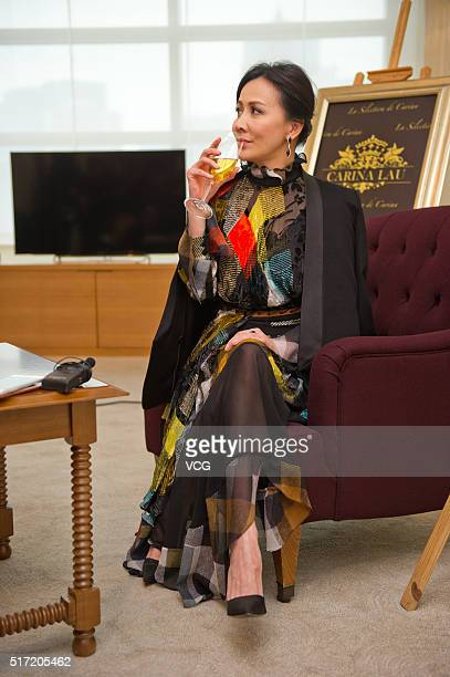 Actress Carina Lau promotes her own wine brand on March 24 2016 in Chengdu Sichuan Province of China
