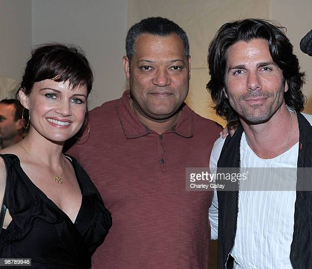 Actress Carla Gugino actor Laurence Fishburne and artist/designer Greg Lauren attend the Los Angeles party for Alteration presented by Greg Lauren on...