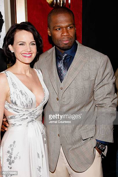 Actress Carla Gugino and Actor/Rapper Curtis '50 Cent' Jackson attends the New York premiere of 'Righteous Kill' at the Ziegfeld Theater on September...