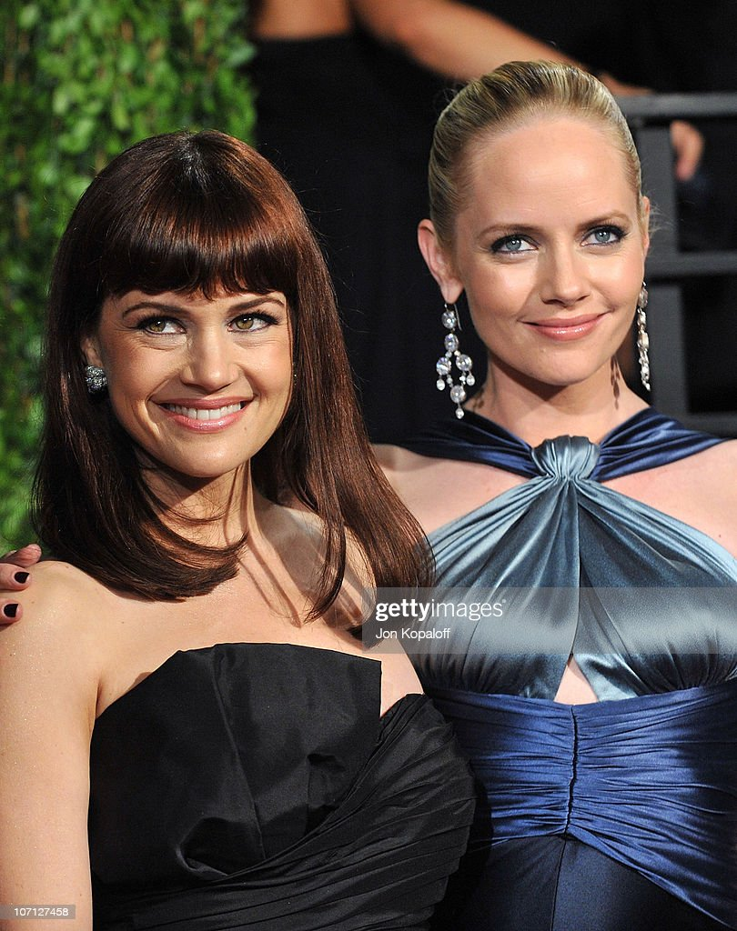 Actress Carla Gugino and actress Marley Shelton arrive at the 2010 Vanity Fair Oscar Party held at Sunset Tower on March 7, 2010 in West Hollywood, California.
