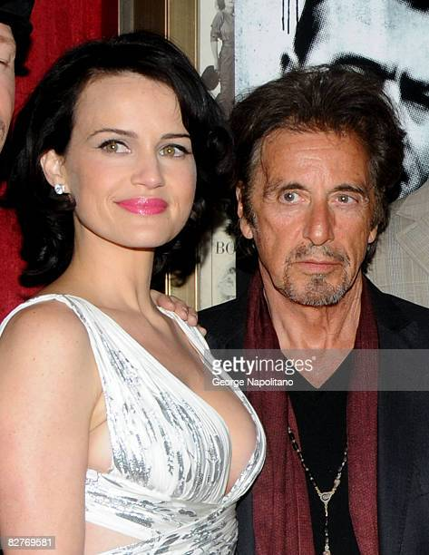 Actress Carla Gugino and Al Pacino attend the New York premiere of Righteous Kill at the Ziegfeld Theater on September 10 2008 in New York City