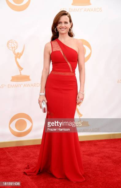 Actress Carla Gugino arrives at the 65th Annual Primetime Emmy Awards held at Nokia Theatre LA Live on September 22 2013 in Los Angeles California