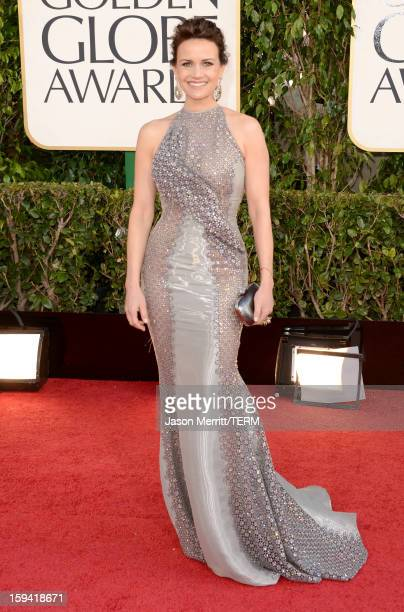 Actress Carla Gugino arrives at the 70th Annual Golden Globe Awards held at The Beverly Hilton Hotel on January 13 2013 in Beverly Hills California