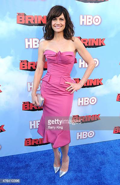 Actress Carla Gugino arrives at the Premiere of HBO's 'The Brink' at the Paramount Theater at Paramount Studios on June 8 2015 in Hollywood California