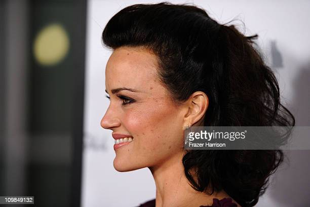Actress Carla Gugino arrives at the premiere Of ShangriLa Entertainment's Girl Walks Into A Bar held at the ArcLight Cinemas on March 7 2011 in Los...
