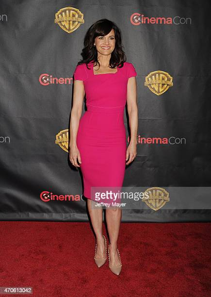 Actress Carla Gugino arrives at Warner Bros Pictures The Big Picture at The Colosseum at Caesars Palace during CinemaCon the official convention of...