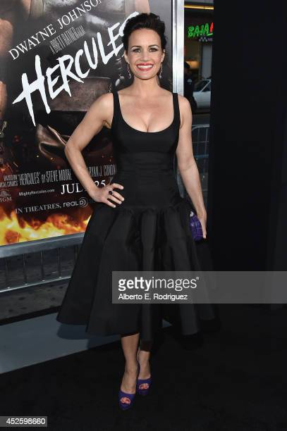 "Actress Carla Gugino arrives to the premiere of Paramount Pictures' ""Hercules"" at the TCL Chinese Theatre on July 23, 2014 in Hollywood, California."