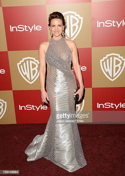 Actress Carla Gugino attends the 14th Annual Warner Bros And InStyle Golden Globe Awards After Party held at the Oasis Courtyard at the Beverly...