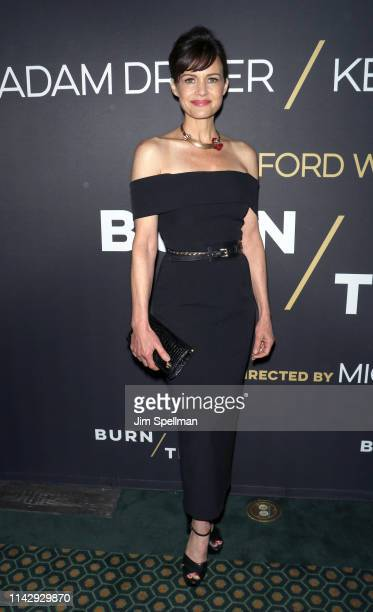 "Actress Carla Gugino attends the ""Burn This"" opening night at Hudson Theatre on April 15, 2019 in New York City."