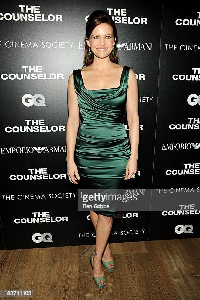 Actress Carla Gugino attends the Emporio Armani with GQ The Cinema Society screening of 'The Counselor' at the Crosby Street Hotel on October 9 2013...